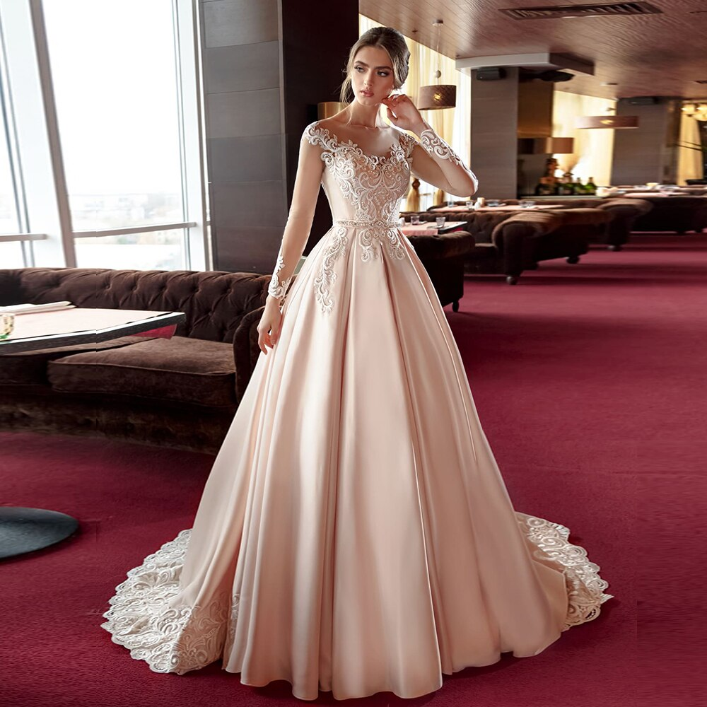 New Special Long Sleeve Satin Wedding Dresses Lace Hochzeitskleid Buttons Up Beading Pearls Waist Simple Bridal Gowns