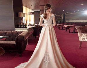 New Special Long Sleeve Satin Wedding Dresses Lace Hochzeitskleid Buttons Up Beading Pearls Waist Simple Bridal Gowns - LiveTrendsX
