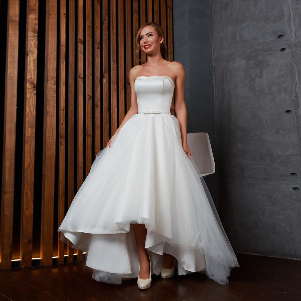 High Low Simple Wedding Dresses Elegant Robe Mariage Femme Strapless Neck Lace Up None Train Bow White Bridal Gowns Matrimonio
