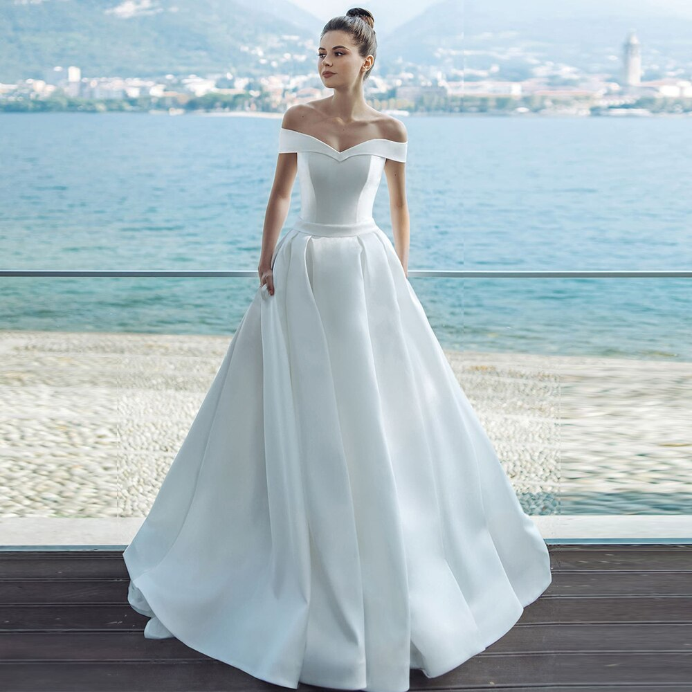 Custom Made Best France Satin Sheath Wedding Dress Plus Size Vestidos Off The Shoulder Short Sleeve White Gown With Pockets