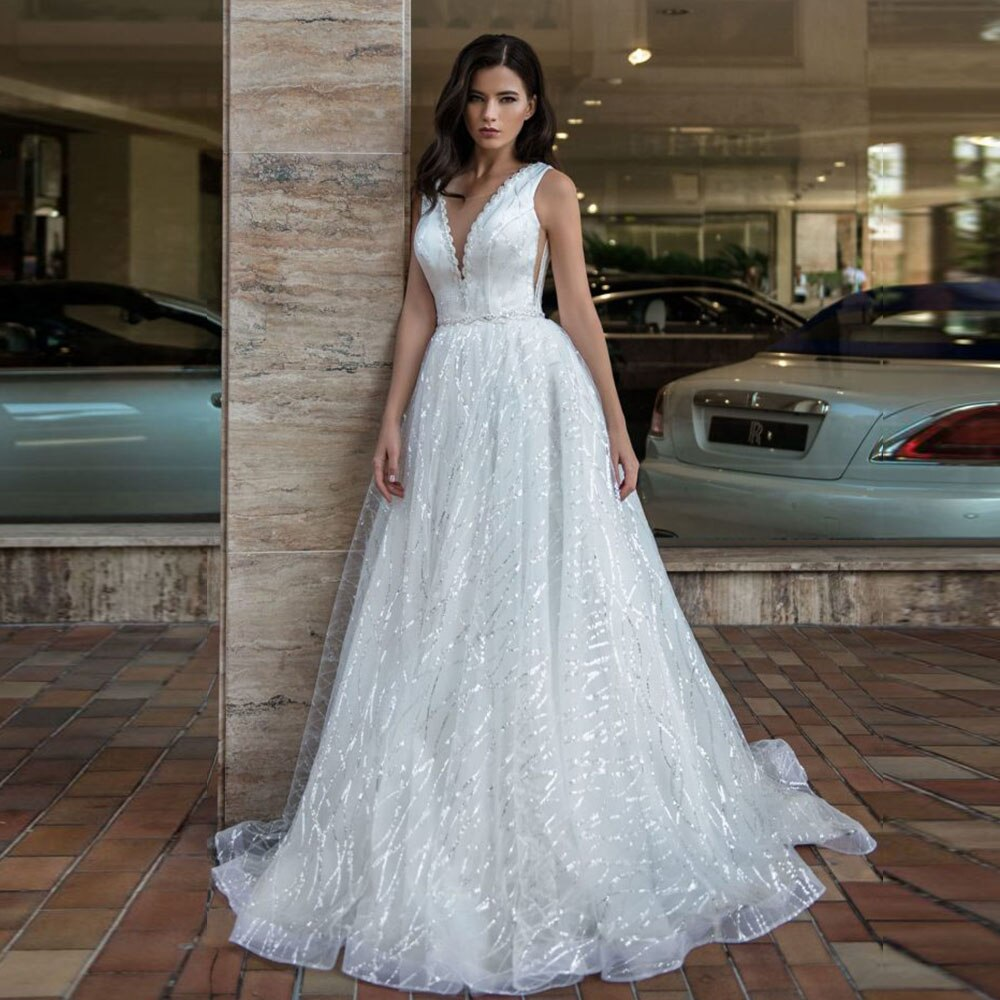 New Arrivals All Over Beading Sequined Shiny Wedding Dresses  Sparkly Wedding Gowns Mariage - LiveTrendsX
