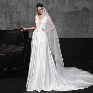 Beading Lace Satin Sheath Wedding Gowns  Elegant White Bridal Dress Abito Da Sposa - LiveTrendsX