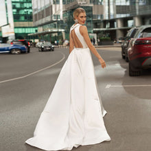 Load image into Gallery viewer, Custom Made V-neck Sexy Backless Shiny Beaded Crystal Waist Best France Satin Sheath Wedding Dresses - LiveTrendsX