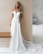 Load image into Gallery viewer, Custom Made Sheath Wedding Dresses Bestidos De Novia Off Shoulder Short Sleeve Sweetheart Neck Beading Crystal Satin Gowns - LiveTrendsX