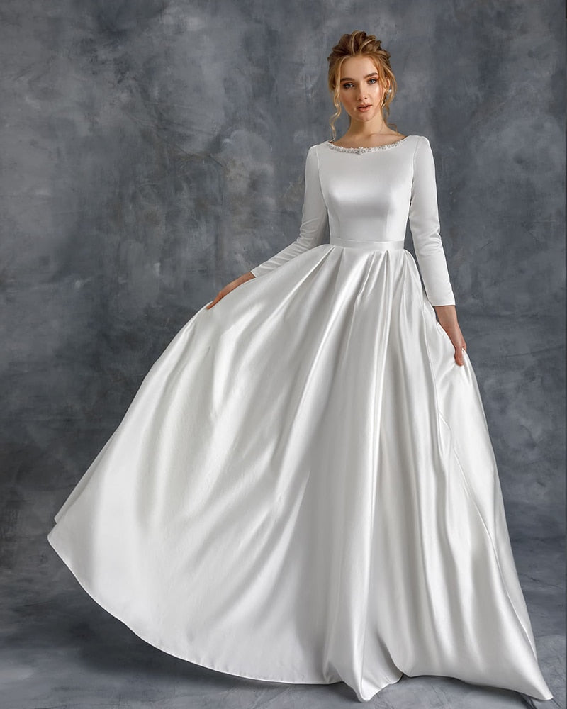 New Arrival Simple Satin Wedding Dresses Three Quarter Sleeve Robe Mariage Femme Pearls Neck Zipper Up Bridal Gowns Robe Mariage