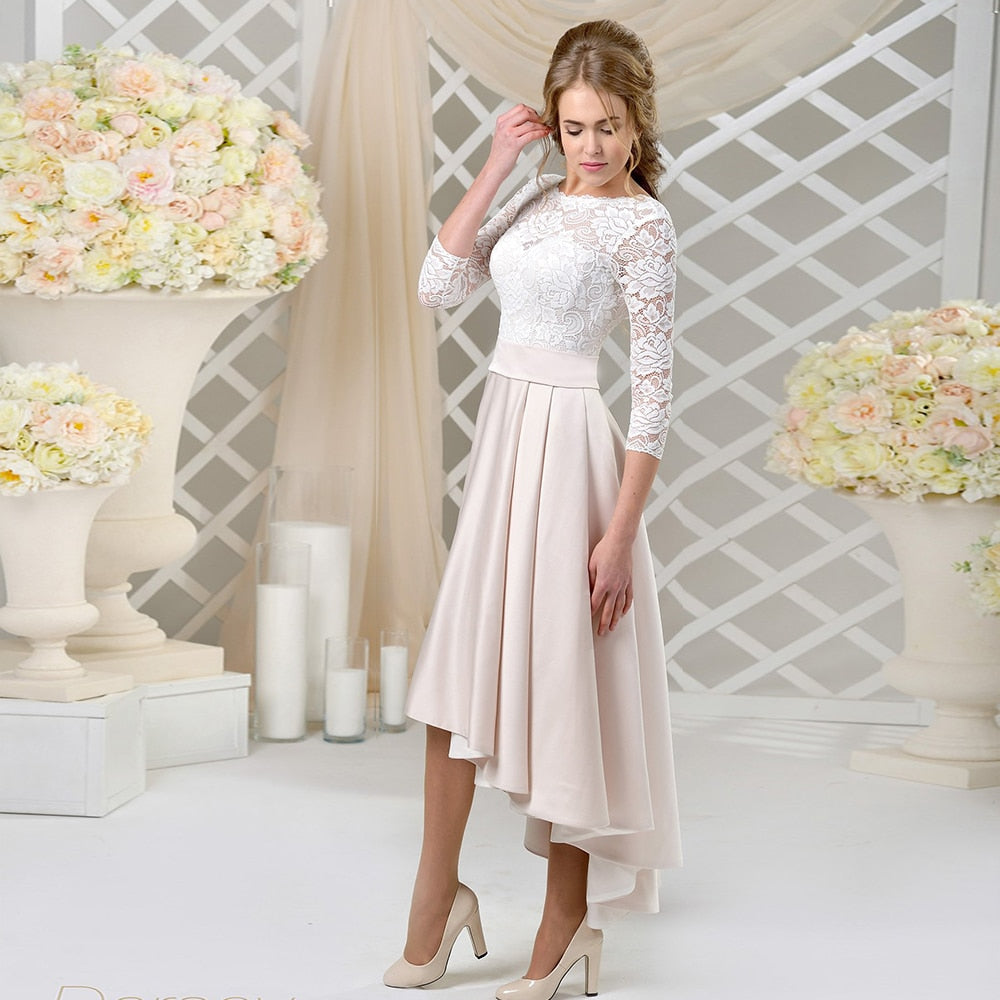 New Arrivals Three Quarter Sleeve Ankle-Length Lace Satin High Low Elegant Wedding Gowns Vestido De Noiva - LiveTrendsX