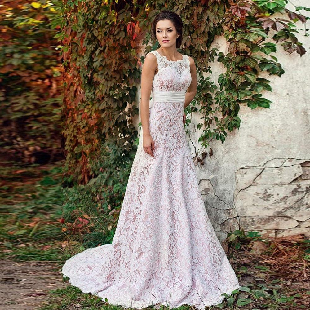 Custom Made O-neck Sleeveless Sexy Backless Lace Sheath Wedding Gowns Vestidos Largos Aliexpress Login Vintage Bridal Dress