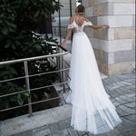 Beading Lace Tulle Flowers Beach Wedding Dresses Boho Vestidos De Novia Shoulder Straps Short Sleeve Elegant Wedding Gowns - LiveTrendsX