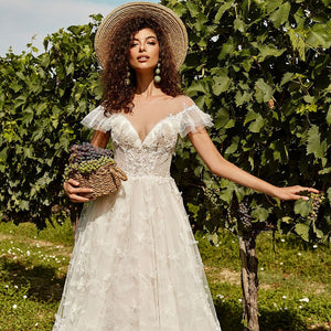 Custom Made Cap Sleeve Buttons Up Lace Beach Wedding Dresses Vestido De Noiva Praia Beading Elegant Wedding Gowns - LiveTrendsX