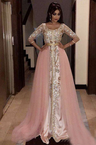 Pink Muslim Evening Dresses A-line 3/4 Sleeves Tulle Appliques Beaded Moroccan Kaftan Dubai Saudi Arabic Long Evening Gown - LiveTrendsX