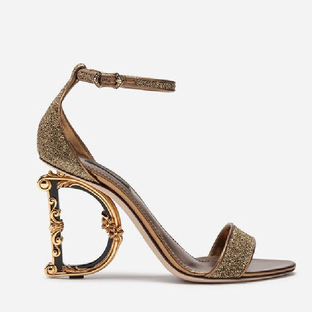 Sexy Womens Clubwear Open Real Leather High Irregular Strange Gold Heels Letter Sandals Shoes Pumps Sequins Bling 7Colors Luxury - LiveTrendsX