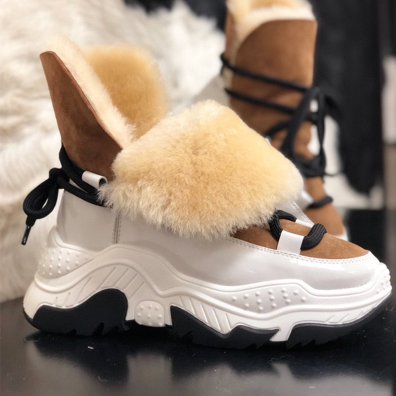 Genuine Leather Women Snow Boots Winter Platform Shoes Ankle Boots For Women Non-slip Keep Warm Wool Women's Sneakers - LiveTrendsX