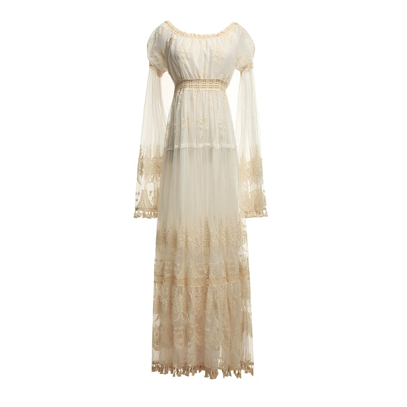Summer Lace Long Women Dress Evening Party Maxi Vintage Lady White Off The Shoulder Floor-length Tassel Dress Tunic