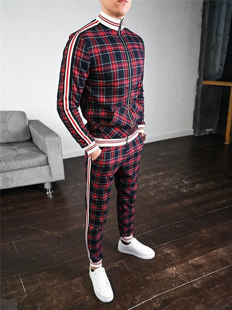 New Colorful Plaid Men Casual Zipper Set Autumn Tracksuit Set Male Sweatshirt Pocket Fashion Jackets Men Tracksuit Sets Mens set