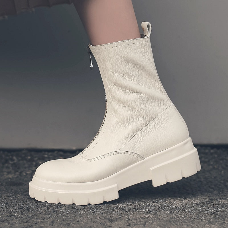 Women Genuine Leather Boots fashion Handmade cow leather patent leather short boots Front zipper platform short boots Tube circ - LiveTrendsX