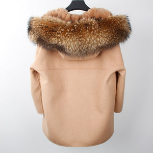 New Winter Parka Wool Cashmere Coat Women Fur Jacket Overcoat Collar Hooded Rex Rabbit Fur liner Top Quality