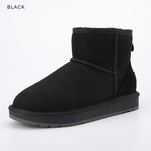 sheepskin suede leather wool fur lined women ankle winter boots for women basic snow boots winter shoes flats black - LiveTrendsX