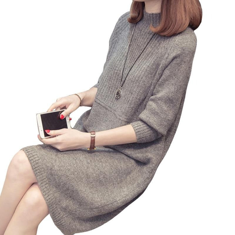 Turtleneck Sweater Dress Women Fashion Autumn Winter Knitted Pullovers Sweaters Long Sleeve Jumper Pull Femme - LiveTrendsX