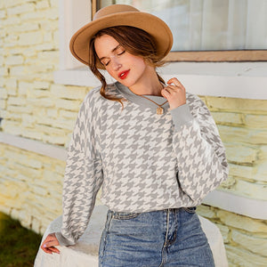 Women geometric khaki knitted sweater women casual Houndstooth lady pullover sweater female Autumn winter retro jumper - LiveTrendsX