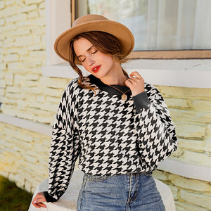 Women geometric khaki knitted sweater women casual Houndstooth lady pullover sweater female Autumn winter retro jumper