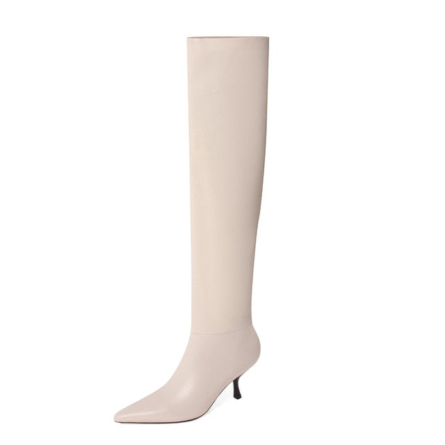 Pleated Real Leather High Heel Long Boots Women Shoes Pointed Toe Stiletto Heels Knee-High Boots Autumn Winter Beige 43