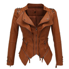 Load image into Gallery viewer, New Fashion Women Smooth Motorcycle Faux Leather Jackets Ladies Long Sleeve Autumn Winter Biker Streetwear Black Pink Coat - LiveTrendsX