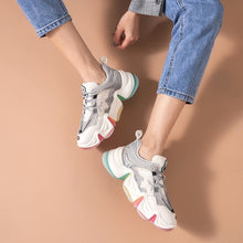 Load image into Gallery viewer, Chunky Sneakers Women Rainbow Color Mesh Cow Leather Round Toe Lace-Up Lady Casual Shoes Female Handmade - LiveTrendsX