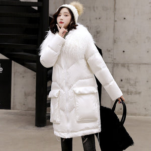 Large Real Fur Winter Down Jacket Women 90% White Duck Down Coats Long Loose Female Parka Waterproof Glossy Feather Coat - LiveTrendsX