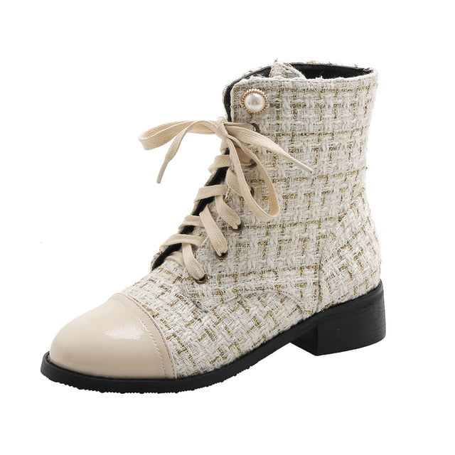 Fashion New Soft Women Ankle Boots Motorcycle Boots Female Autumn Shoes Elegant Woman Ladies Boots 2020 Spring Beige