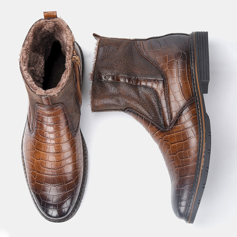 Leather Men Winter Boots Size 40-45 Handmade Warm Men Winter Shoes