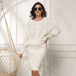 new elegant plus size women's loose bat sleeve o neck solid autumn winter sweater dress female mid-length pullover knitted dress - LiveTrendsX