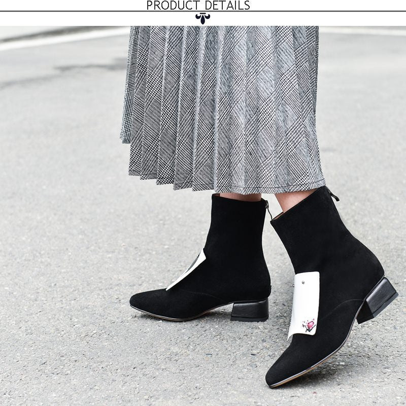 women shoes winter new fashion pointed toe genuine leather ankle boots women mid heels plus size zip shoes