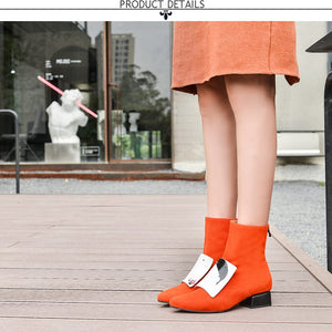 women shoes winter new fashion pointed toe genuine leather ankle boots women mid heels plus size zip shoes - LiveTrendsX