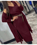 Women's knitting Suit Two Piece Set Knit Cardigan Loose Sweater Coat with Belt - LiveTrendsX
