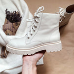 Ankle Boots Women Genuine Cow Leather Cross-Tied Round Toe Lady Fashion Boots Winter Platform Shoes Handmade - LiveTrendsX