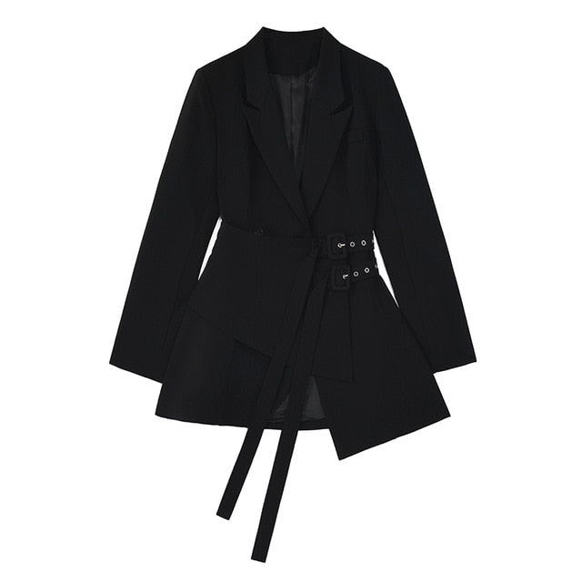 Women Irregular Bandage Spliced Blazer New Lapel Long Sleeve Loose Fit Jacket Fashion Tide Spring Autumn - LiveTrendsX