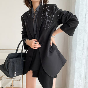 Women Black Pattern Printed Big Size Blazer New Lapel Long Sleeve Loose Fit  Jacket Fashion Tide Spring Autumn 2020 - LiveTrendsX