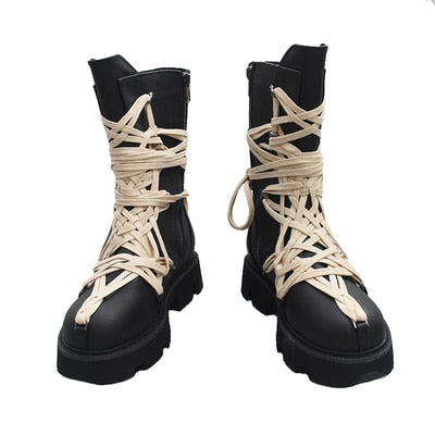 2020 Autumn and Winter New British Style Thick-soled High-top Lace-up Short Boots Side Zipper Mid-tube Boots  Shoes Woman