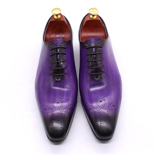 Daniel Shoes Italian Mens Dress Shoes Genuine Leather Blue Purple Oxfords Men Wedding Shoes Party Whole Cut Formal Shoes for Men - LiveTrendsX