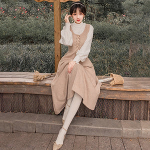 Winter Two Piece Set Women Full Lantern Sleeve Blouse White Shirt and Woolen Plaid Strap Dress 2 Piece Outfits Skirt Set - LiveTrendsX
