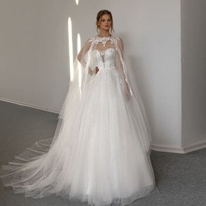 New Special Pearls Appliques Shiny Sequined Tulle Wedding Dresses With Shawl Vintage Bridal Gowns A-line