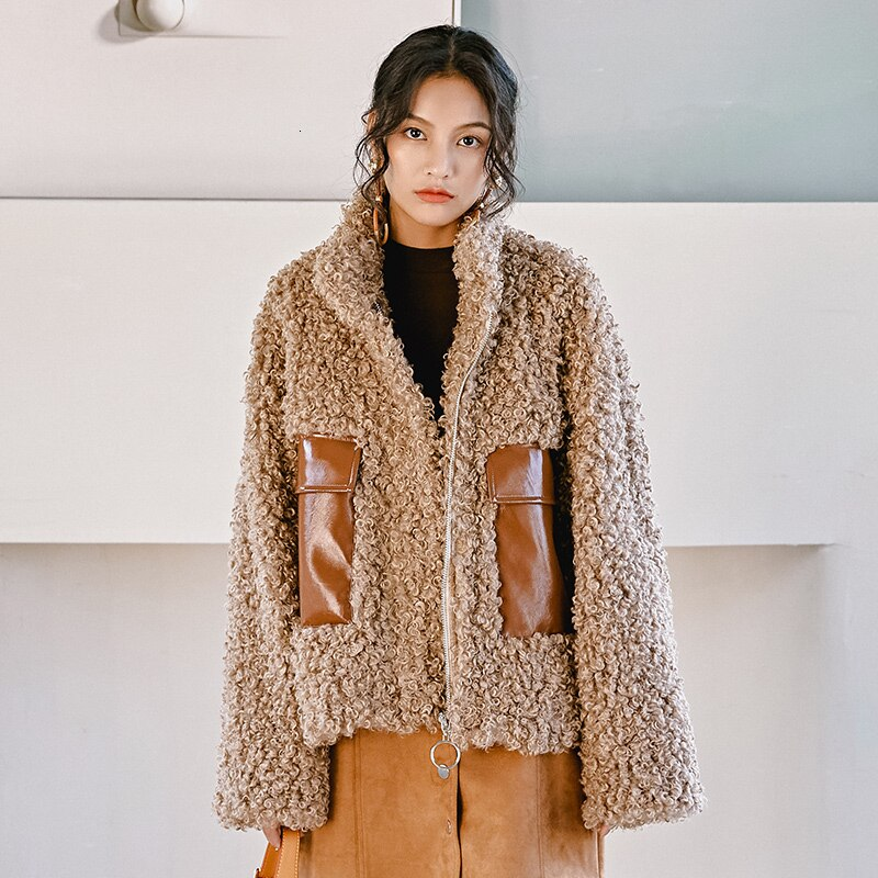 Women's Parka Warm Loose Fashion Teddy Bear Fleece Jacket High Quality PU Leather Faux Fur Coat Winter