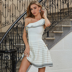 New Summer Women One Shoulder Bandage Dress Sexy Sleeveless Mini Ruffles Club Celebrity Runway Party Dresses Vestidos - LiveTrendsX