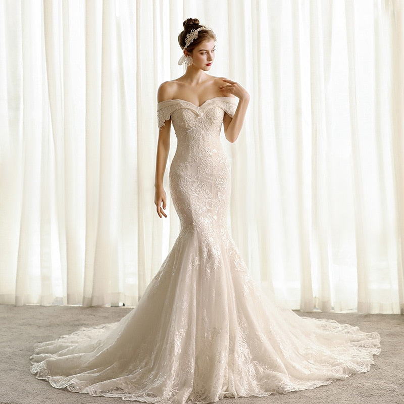 elegant off white wedding dress 2020 mermaid corset bride dresses  lace wedding gowns for woman plus size