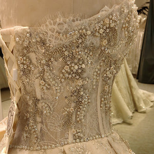 ball gown wedding dress strapless 2020 lace beaded corset elegante church femme luxury modest