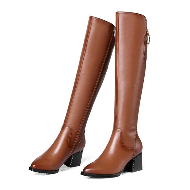 British style cowhide material zippered decorative boots pointed thick high heel side zipper rubber soles  winter boots women - LiveTrendsX