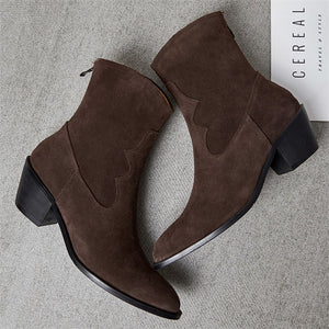 Real Leather Cow Suede High Heel Ankle Boots Women Shoes Pointed Toe Thick Heel Zipper Short Boots Ladies Autumn Brown - LiveTrendsX