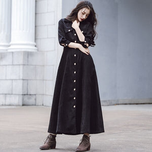 Vintage Autumn Winter Long Maxi Dress Women Elegant Ladies Turn-down Collar Single-breasted Corduroy Shirt Dresses Long Sleeve