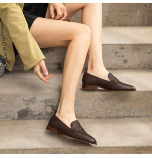 Casual Loafers Women Genuine Cow Leather Square Toe Slip-On Autumn Spring Lady Flats Handmade - LiveTrendsX
