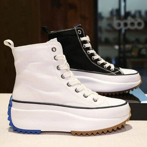 Boots female 2020 autumn hot new fashion denim trend lace-up flat canvas shoes casual wild Light breathable thick bottom shoes - LiveTrendsX
